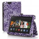 """New Lepord-Purple Kindle Fire HDX 7"""" PU Leather Folio Stand Cover Case"""