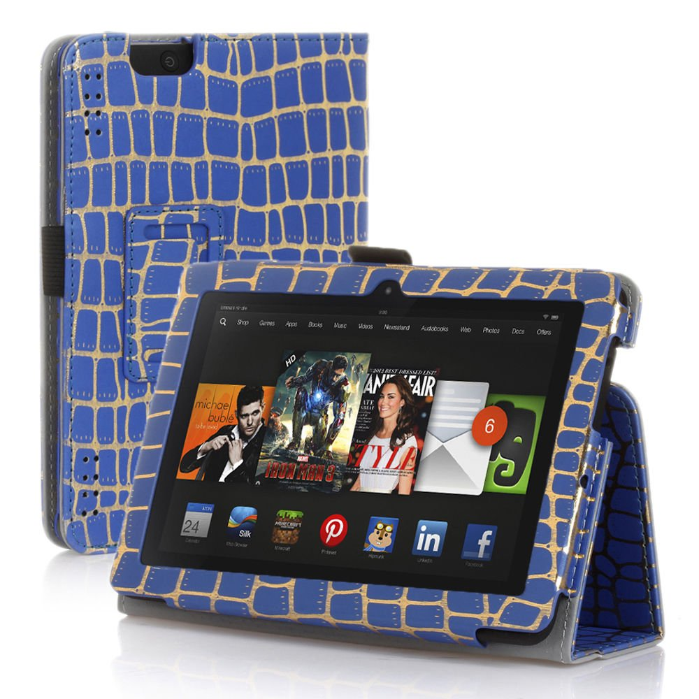 """New Golden Stripe-Blue Kindle Fire HDX 7"""" PU Leather Folio Stand Cover Case"""