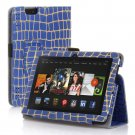 "New Golden Stripe-Blue Kindle Fire HDX 7"" PU Leather Folio Stand Cover Case"