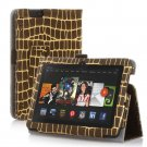 "New Golden Stripe-Brown Kindle Fire HDX 7"" PU Leather Folio Stand Cover Case"