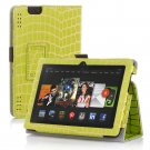 "New Golden Stripe-Green Kindle Fire HDX 7"" PU Leather Folio Stand Cover Case"