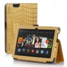 "New Golden Stripe-Gold Kindle Fire HDX 7"" PU Leather Folio Stand Cover Case"