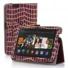 "New Golden Stripe-Purple Kindle Fire HDX 7"" PU Leather Folio Stand Cover Case"