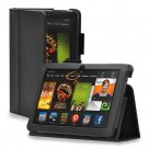 "New Plain-Black Kindle Fire HDX 8.9"" 2013 PU Leather Folio Stand Cover Case"