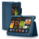 "New Plain-Dark Blue Kindle Fire HDX 8.9"" 2013 PU Leather Folio Stand Cover Case"