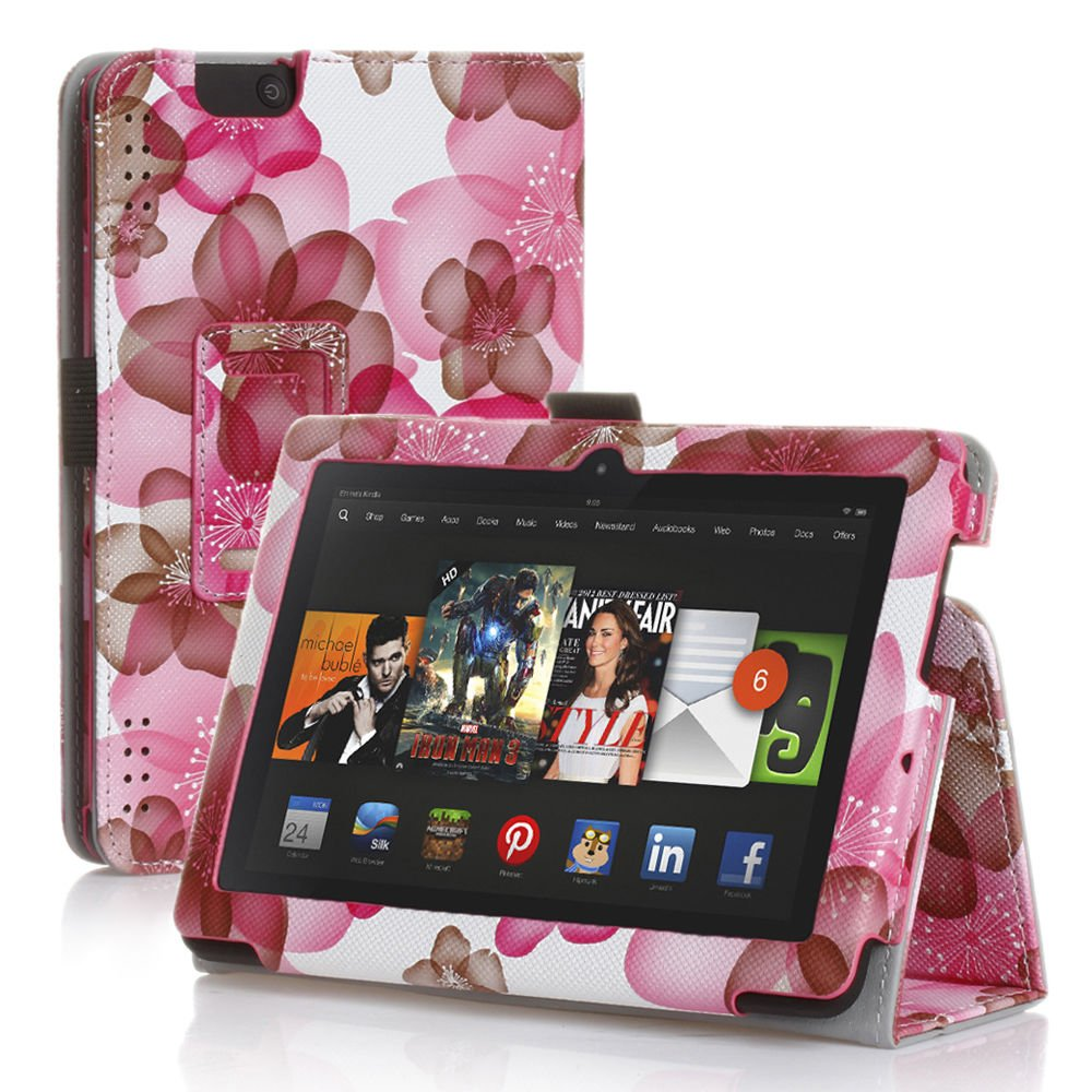 """New Flower-Pink Kindle Fire HDX 8.9"""" 2013 PU Leather Folio Stand Cover Case"""