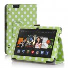 "New Polka Dot-Green Kindle Fire HDX 8.9"" 2013 PU Leather Folio Stand Cover Case"