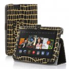 """New Gold-Stripe Black Kindle Fire HDX 8.9"""" 2013 PU Leather Folio Stand Cover Case"""
