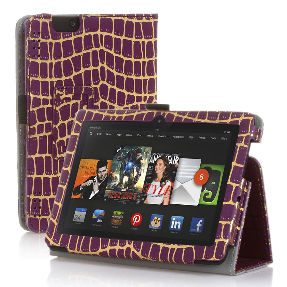 "New Gold-Stripe Purple Kindle Fire HDX 8.9"" 2013 PU Leather Folio Stand Cover Case"