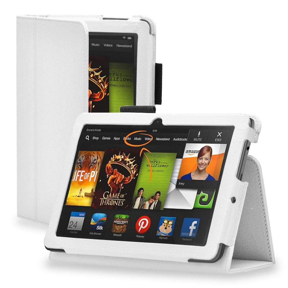 """New Plain-White Kindle Fire HD 7 2nd 2013"""" 2013 PU Leather Folio Stand Cover Case"""