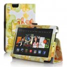 """New Flower-Green Kindle Fire HD 7 2nd 2013"""" 2013 PU Leather Folio Stand Cover Case"""