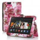 "New Flower-Pink Kindle Fire HD 7 2nd 2013"" 2013 PU Leather Folio Stand Cover Case"