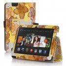 "New Flower-Yellow Kindle Fire HD 7 2nd 2013"" 2013 PU Leather Folio Stand Cover Case"