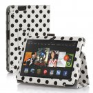 "New Polka Dot-White Kindle Fire HD 7 2nd 2013"" 2013 PU Leather Folio Stand Cover Case"