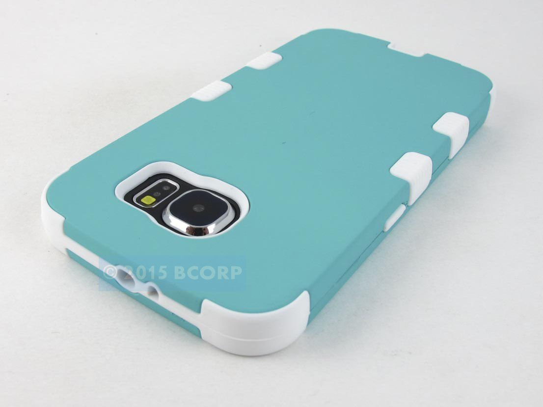 New Samsung Galaxy S6 Turquoise White Rugged Shock Proof Tuff Case Cover