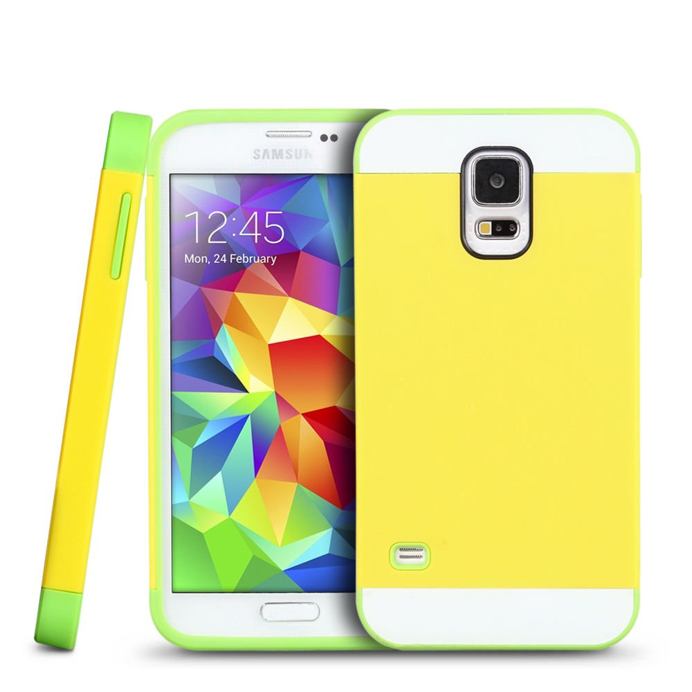 New Yellow For Samsung Galaxy S5 Multi Toned Hybrid Skin Hard Case Cover