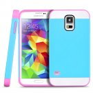New Blue-Pink For Samsung Galaxy S5 Multi Toned Hybrid Skin Hard Case Cover