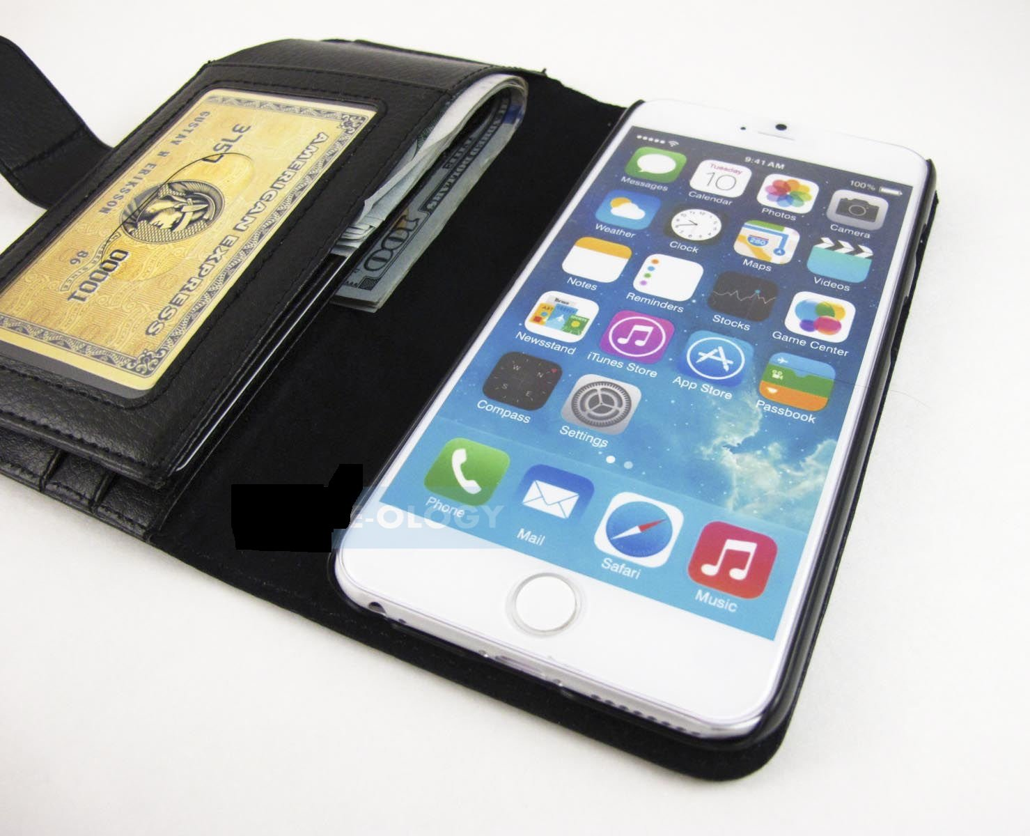 Black Full Wallet Pouch Case Cover For Apple Iphone 6 Plus 5.5 Accessory