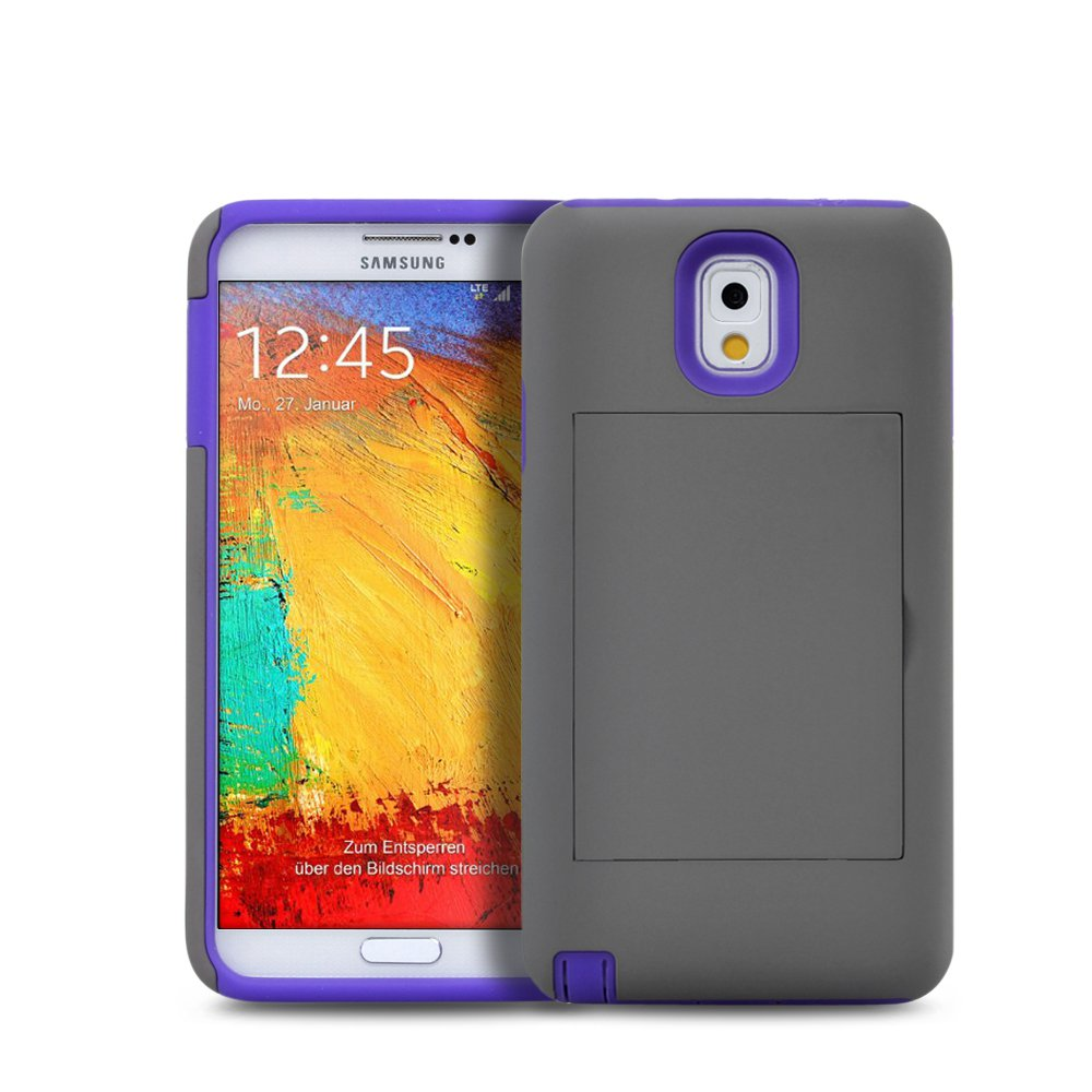 Hybrid Credit Card Case Holder Shockproof Cover For Samsung Galaxy Note 3 III