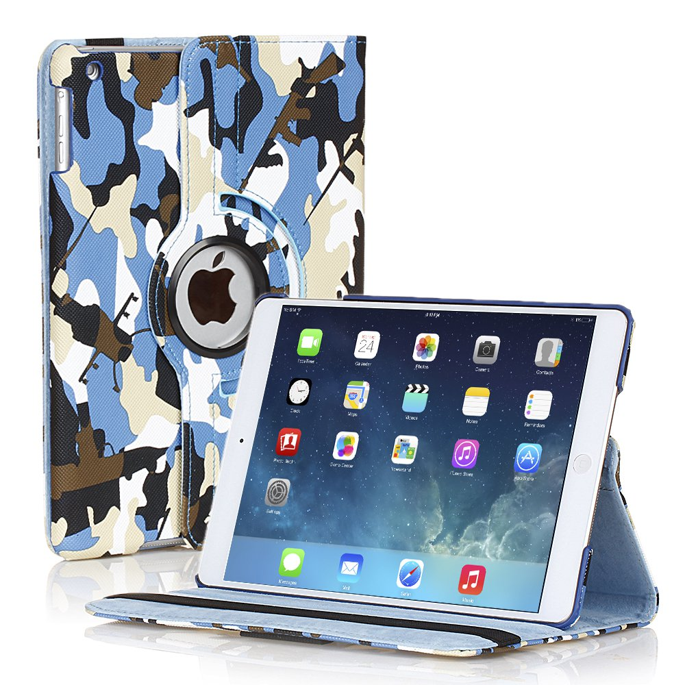 New Camouflage Camo Blue iPad Air 5 5th Gen Case Smart Cover Stand