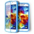 Blue Transparent Soft TPU Wrap Up Flip Case Cover For Samsung GalaxyS5 i9600 SV