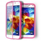 Pink Transparent Soft TPU Wrap Up Flip Case Cover For Samsung GalaxyS5 i9600 SV