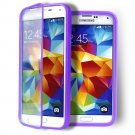 Purple Transparent Soft TPU Wrap Up Flip Case Cover For SamsungGalaxyS5 i9600 SV