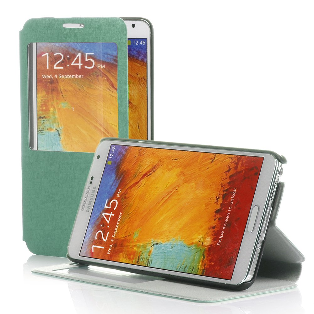 New Green PU Leather S-View Case Cover Protector For Samsung Galaxy Note 3 III