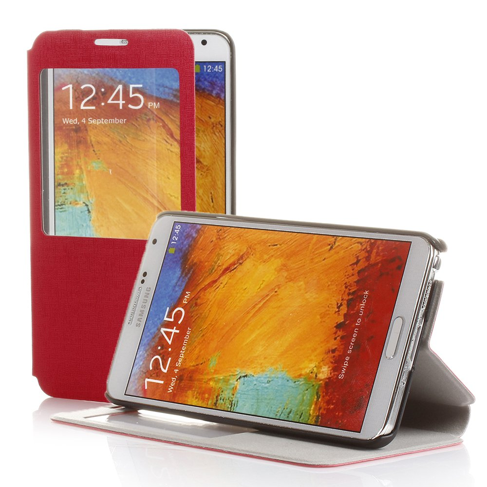 New Pink PU Leather S-View Case Cover Protector For Samsung Galaxy Note 3 III
