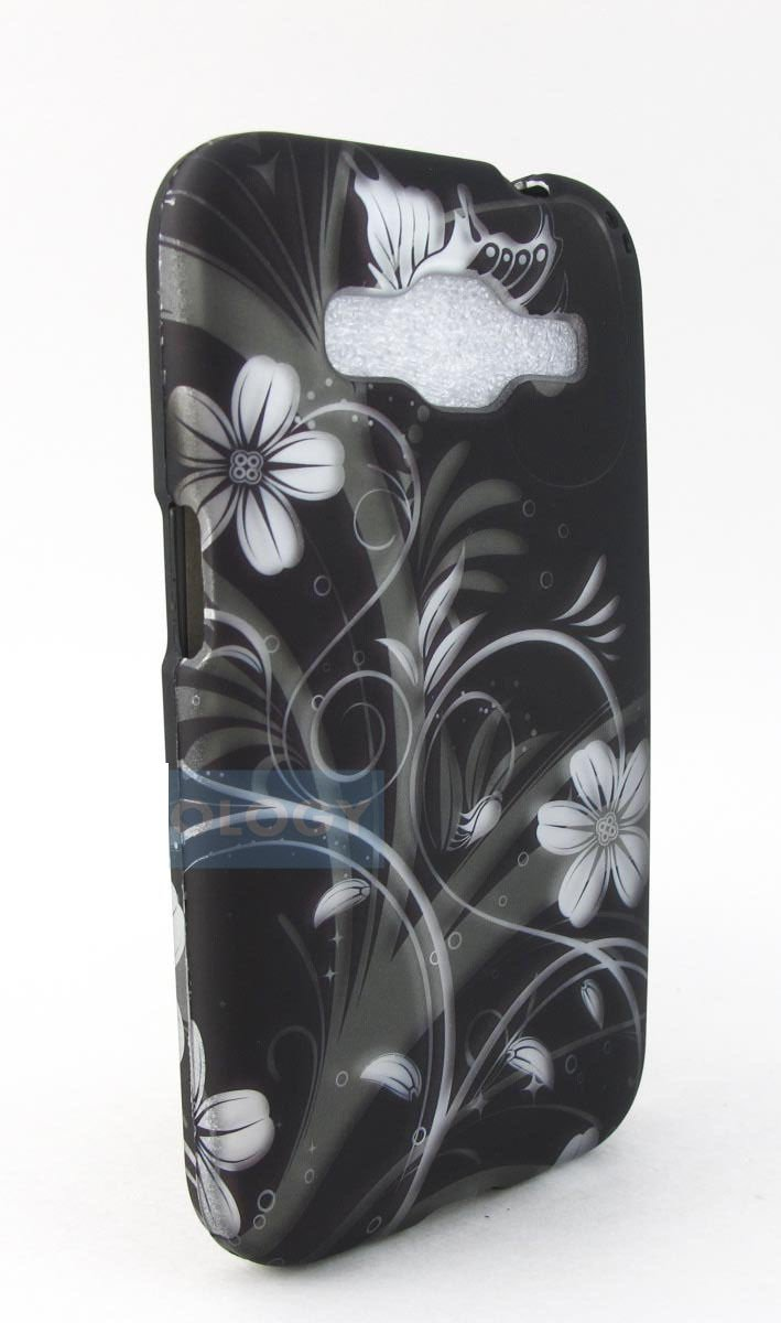 Black White Flowers Samsung Galaxy Prevail LTE Core Prime Graphic Design Snap