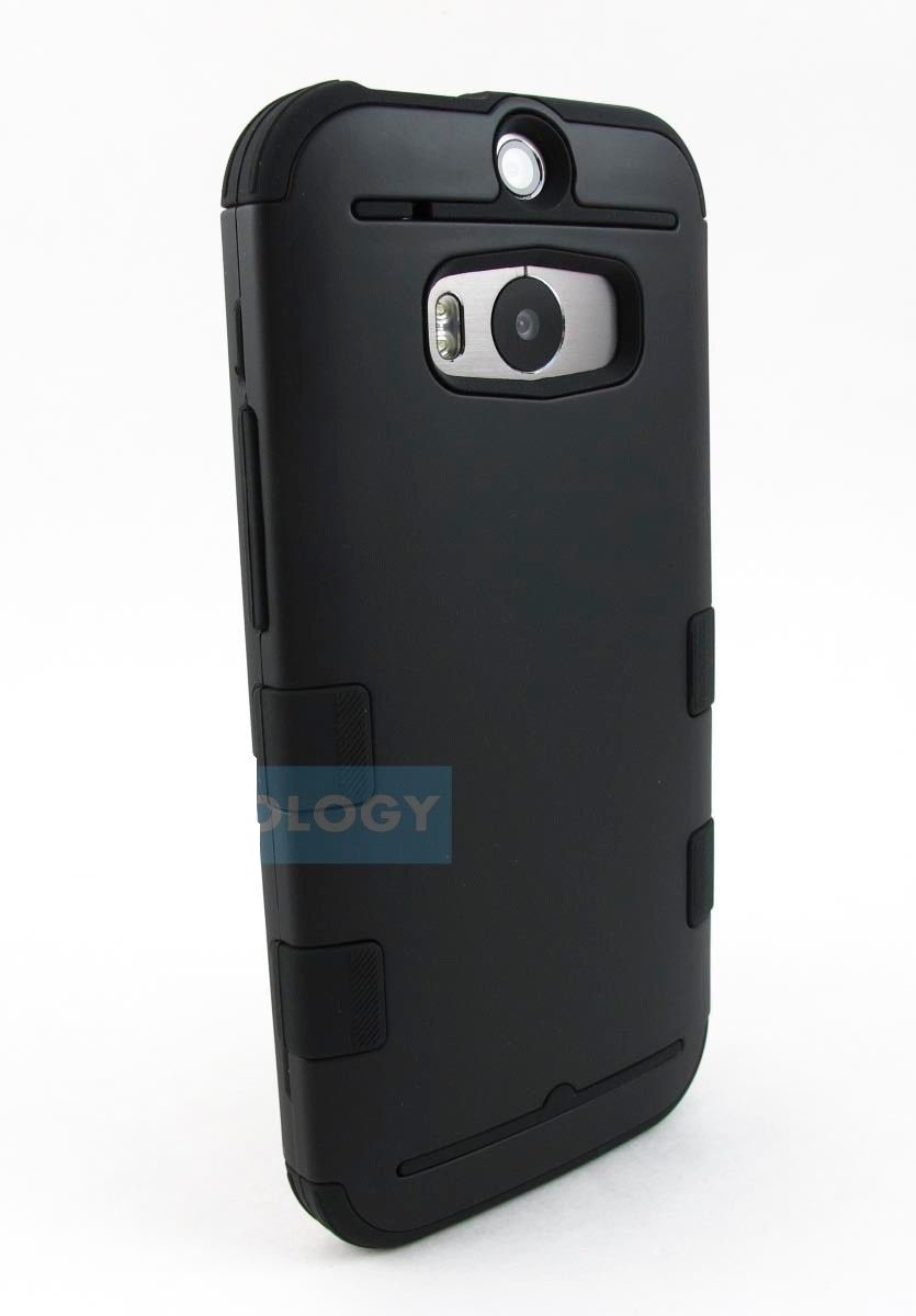New Full Black HTC One M8 2014 Armor Dual Layer Case Cover Stylus