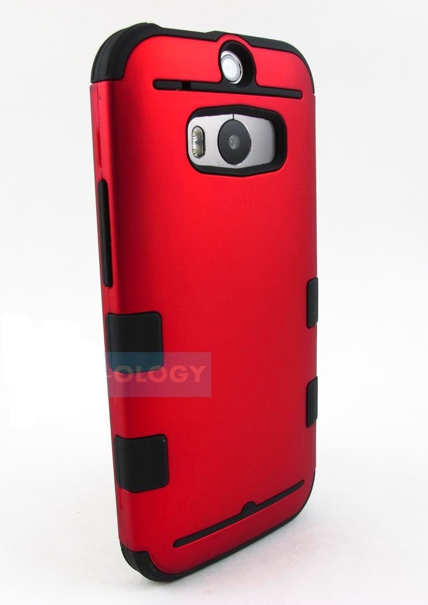 New Red and Black HTC One M8 2014 Armor Dual Layer Case Cover Stylus