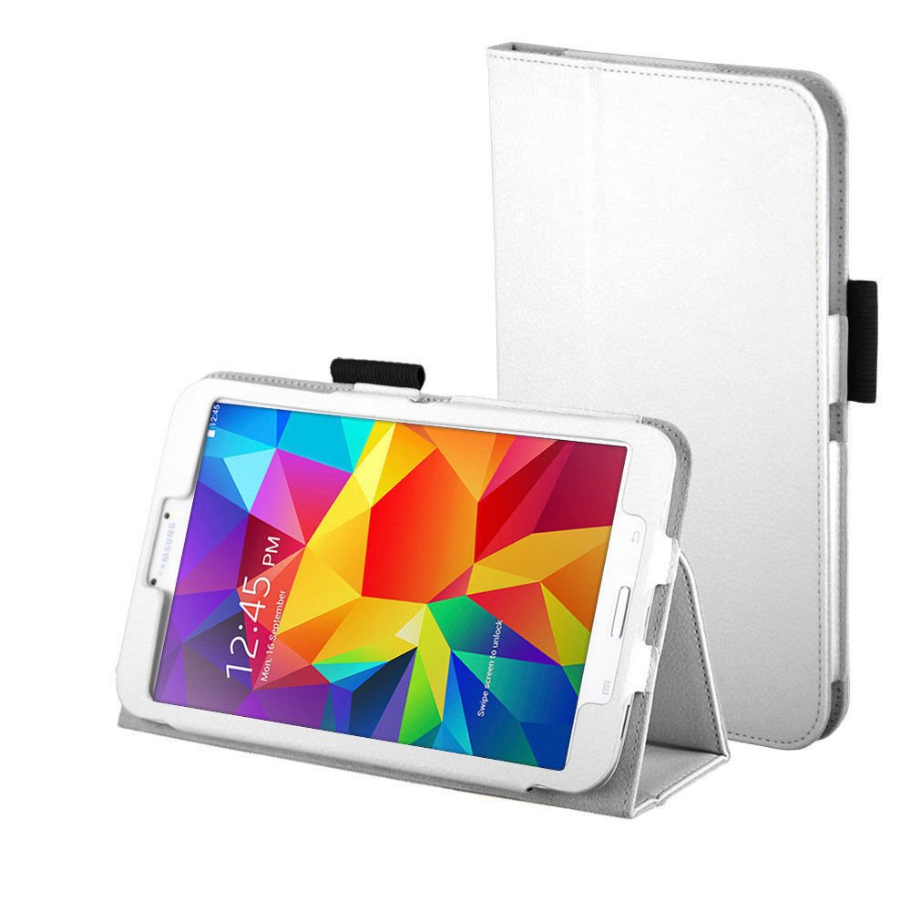 New White Tablet Samsung Galaxy Tab 4 Folio Stand Smart Cover Case