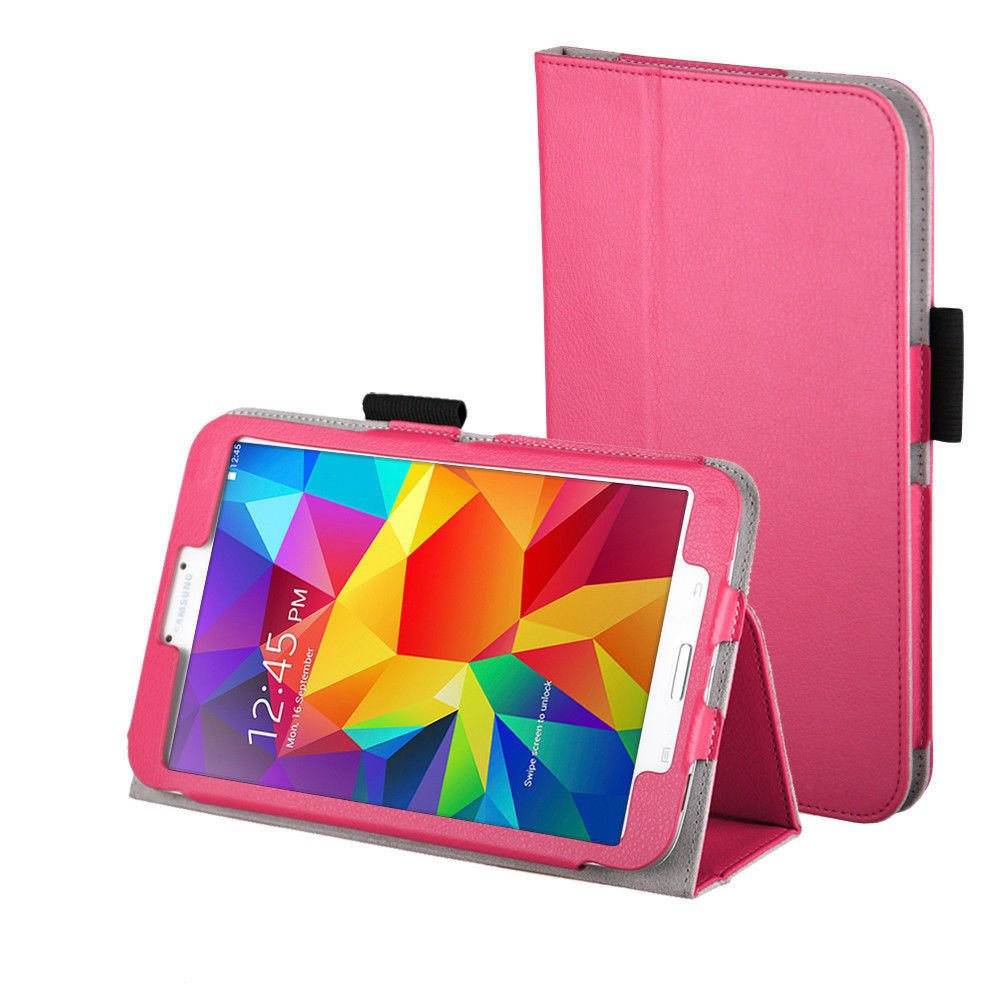 New Hot Pink Tablet Samsung Galaxy Tab 4 Folio Stand Smart Cover Case