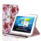Rotating Flower Pattern PU Leather Case For Samsung Galaxy Tab 2 10.1 P5100 Pink