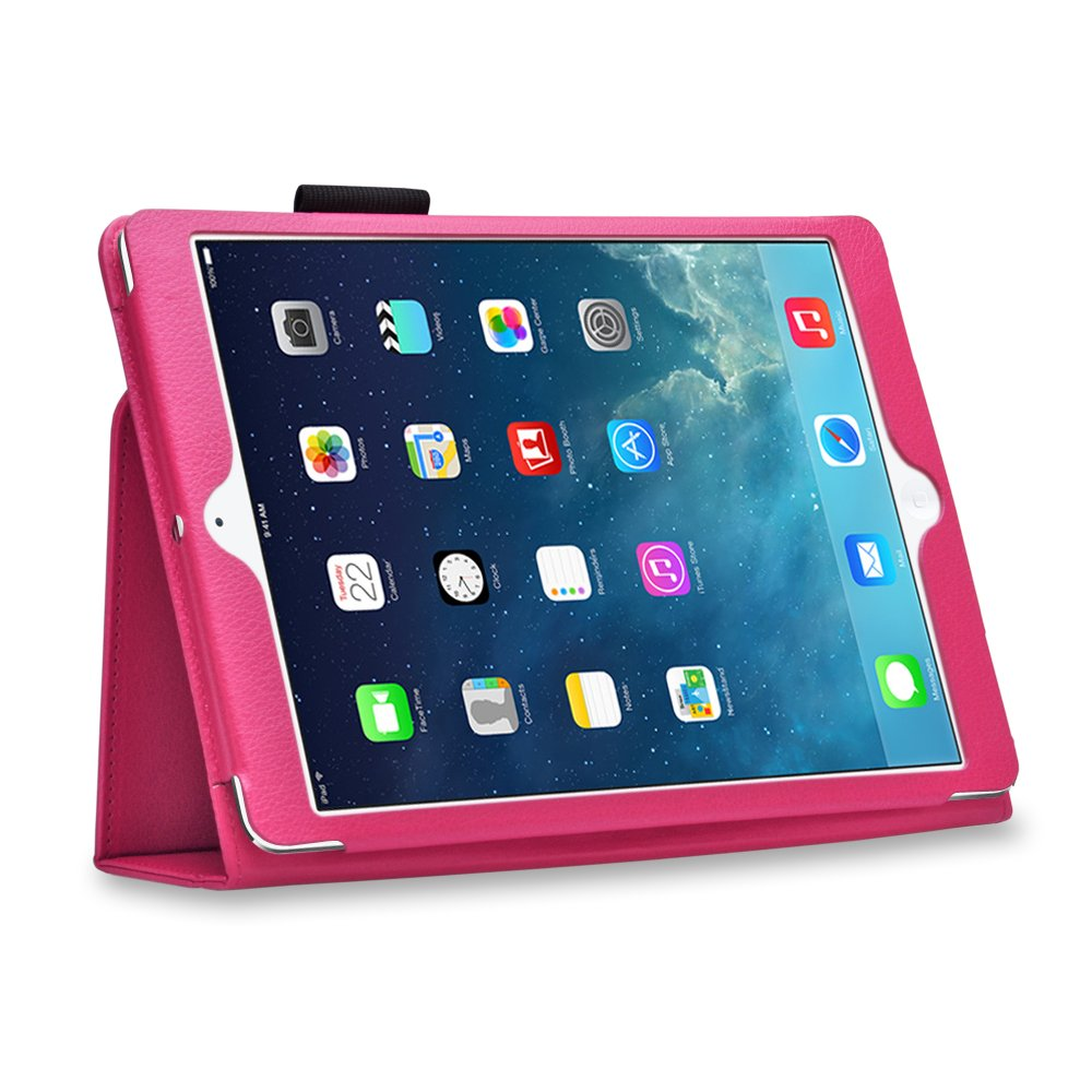 New Hot Pink Slim PU Leather Case Cover For Apple iPad 1 1st Generation