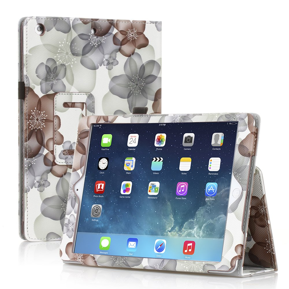 New Flower Black Slim PU Leather Case Cover For Apple iPad 1 1st Gen