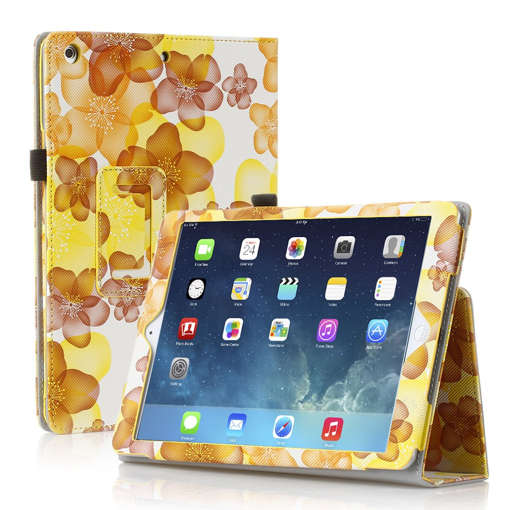 New Flower Yellow Slim PU Leather Case Cover For Apple iPad 1 1st Gen