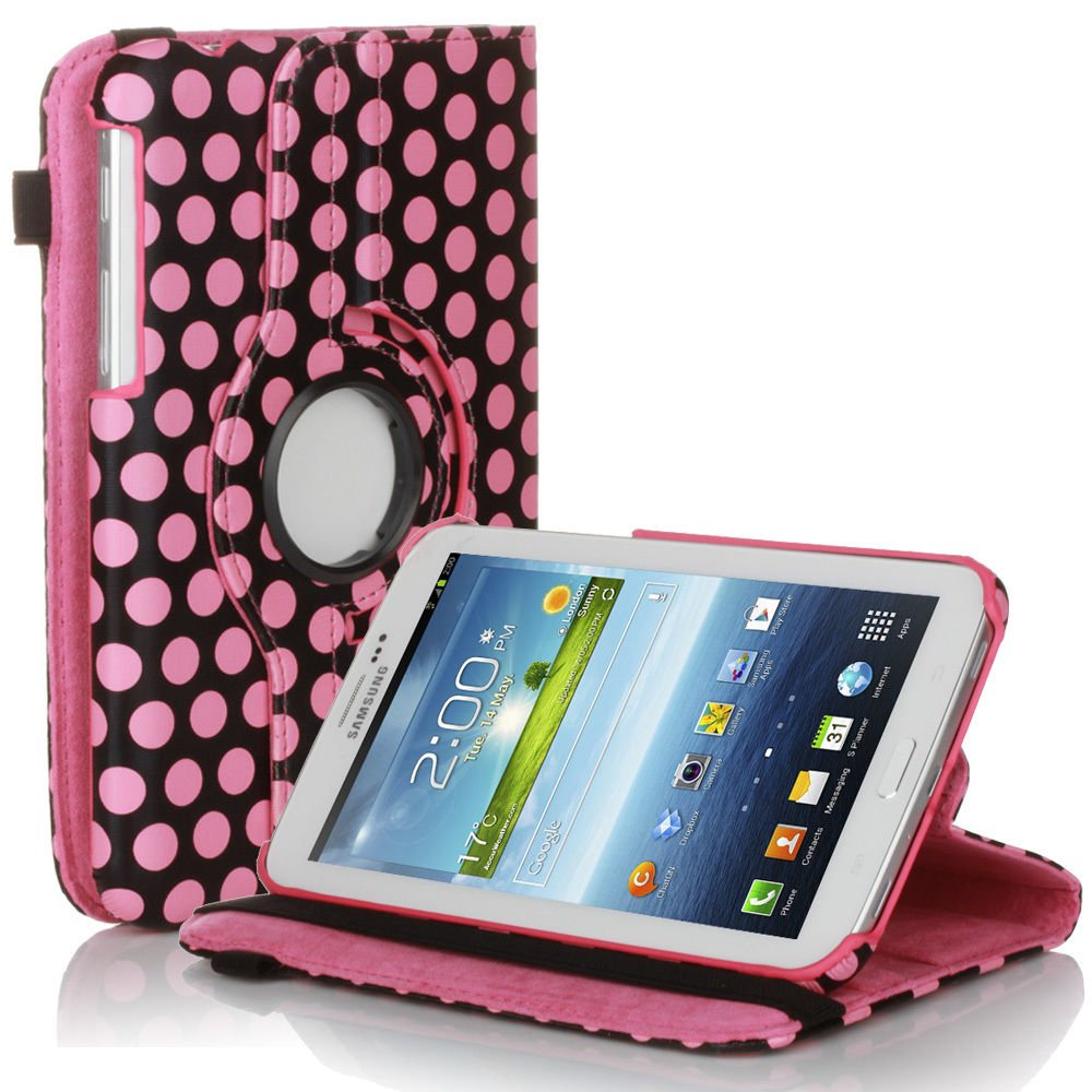 New Polka Dot Pink PU Leather Smart Case Cover For Samsung Galaxy Tab 3
