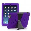 Purple Silicone Kickstand Case Cover for iPad Air 4 3 2 iPad Mini