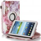 Rotating Flower Pattern Leather Case For Samsung Galaxy Tab 3 7.0