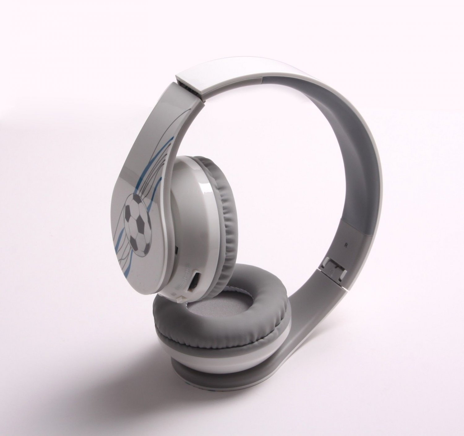 White Football & Hi-Fi Stereo Bluetooth 4.0 Headphones for Cell Phone Tablet PC Laptop