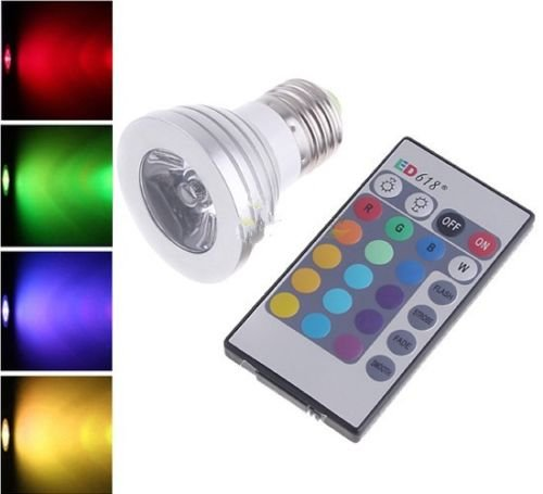 4W RGB E26 led bulb indoor lamp spot light 16 Color changing +IR Remote Control
