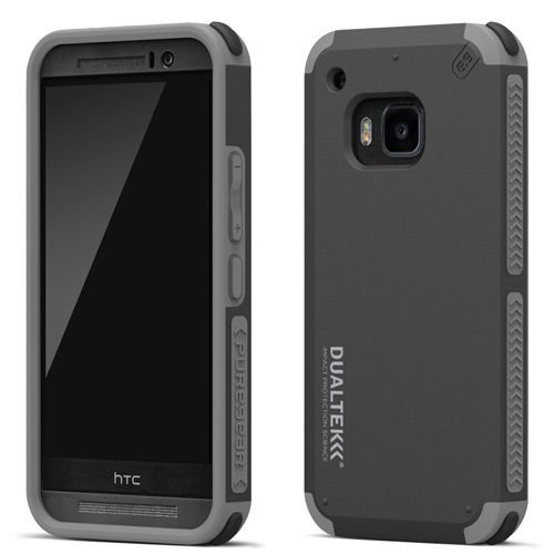 PureGear Dualtek Extreme Shock Impact Hard Cover Case for HTC One M9 Black Gray