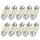 10pcs White 31MM Festoon Dome Map Interior LED Light 3528 6-SMD Lamp DE3175 3021