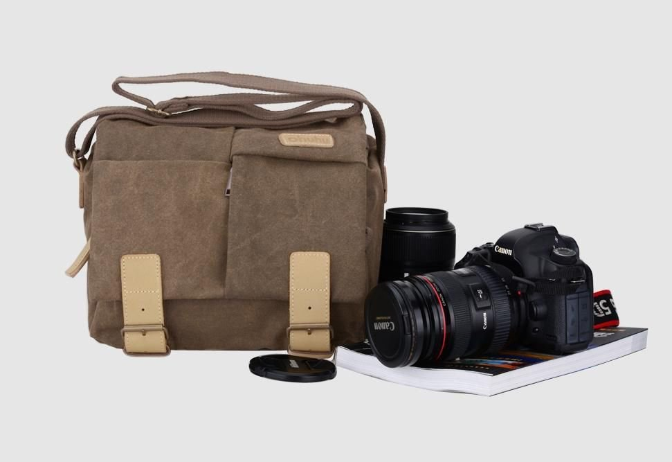Canvas DSLR Camera Photography Bag With Waterproof Rain Cover For Nikon Canon