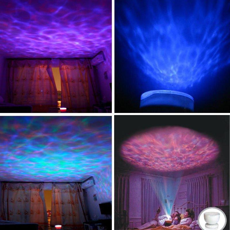 New Color Romantic 8-Mode LED Ocean Wave Night Light Projector USB Speaker Lamp