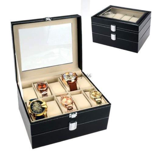 New 20 Grid Slot Leather Watch Box Display Case Organizer Jewelry Storage Black