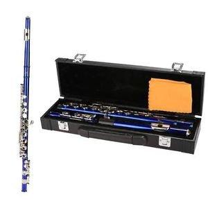 New Blue Closed Holes C Tone Key Flute with Case Cloth Screwdriver