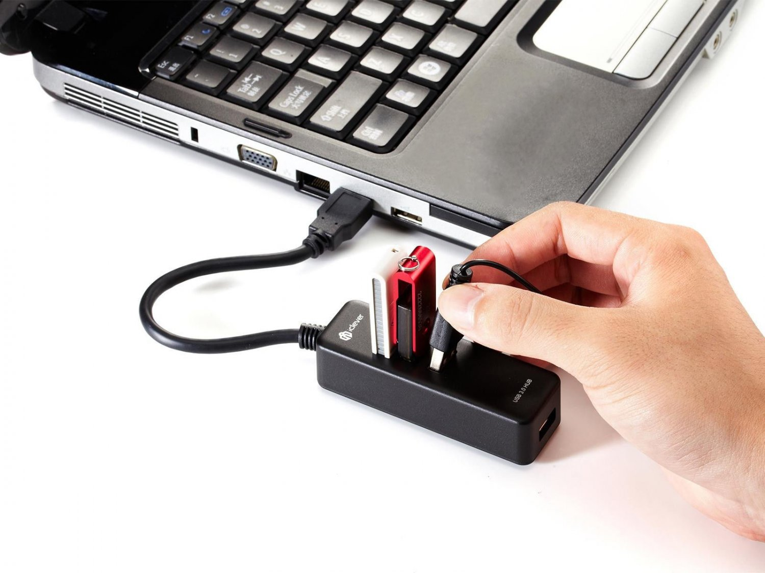 New iClever 4-Port USB 3.0 Portable Compact Hub For PC Laptop Super Speed 5Gbps